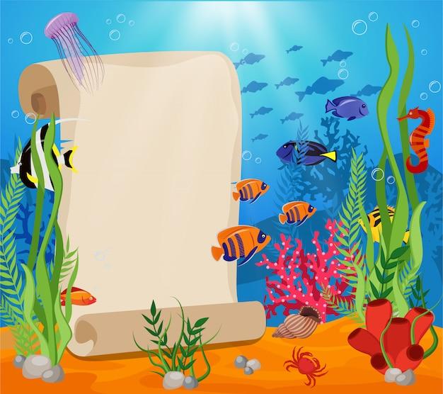 テキストと魚のカニの藻類と水中の世界のための白いシートを使用した海洋生物の構成 無料ベクター