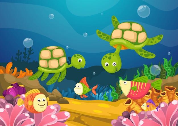 Marine life under the sea vector Premium Vector