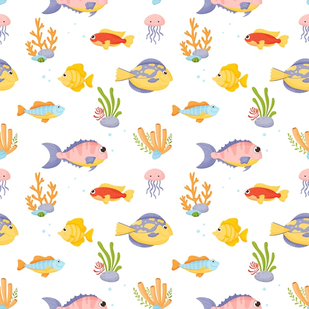 Marine life.  set in cartoon style isolated on white background. Premium Vector