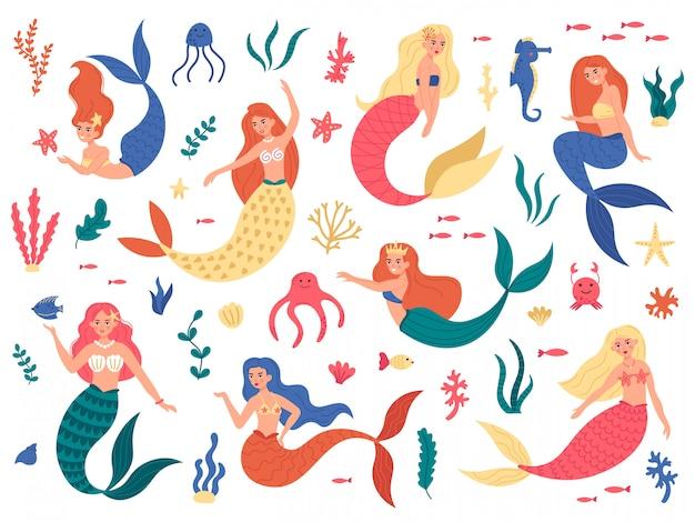 Marine mermaids. cute mermaid princess, fairy mermaid girls with ocean marine elements, hand drawn magic underwater world  illustration set. seahorse swimming, octopus and colored mermaid Premium Vector