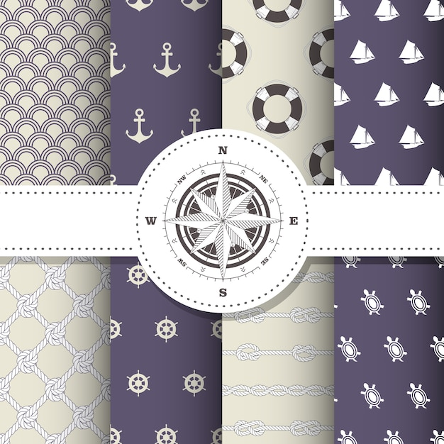 Marine and nautical patterns - set of sea theme seamless patterns Premium Vector