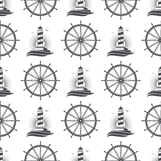 Marine nautical seamless pattern  with vintage lighthouse and wheel Premium Vector