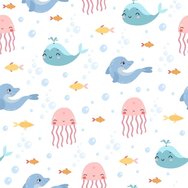 Modello marino. meduse, delfini, balene Vettore gratuito