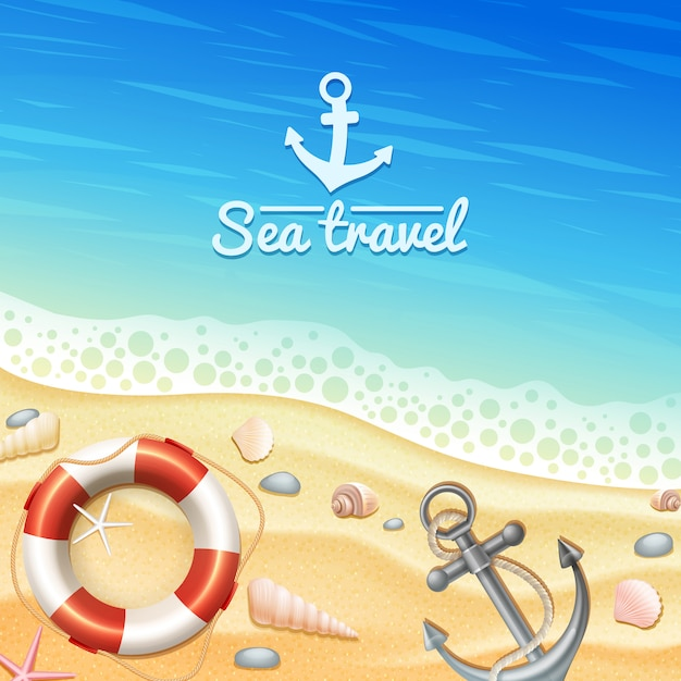 Marine realistic background Free Vector