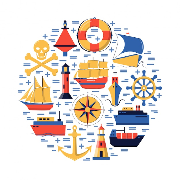 Marine round composition with ship elements Premium Vector