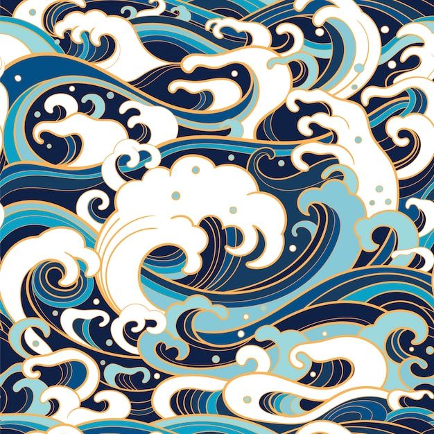 Marine seamless pattern with water waves Premium Vector