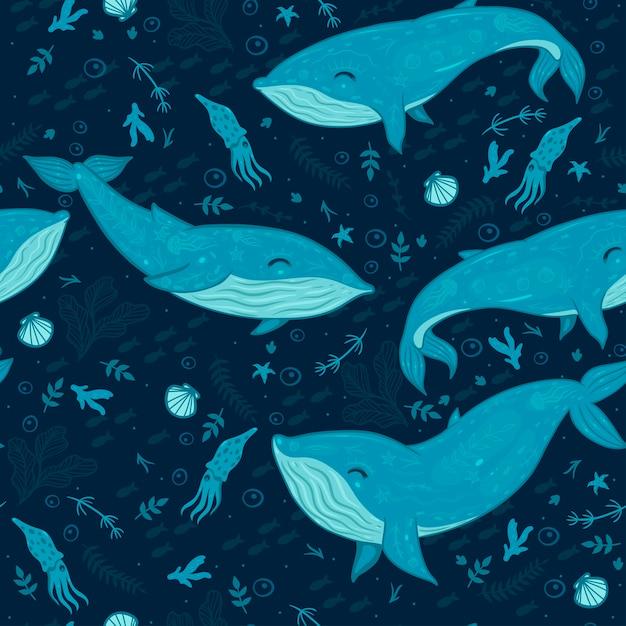 Морской бесшовный образец с китами. Premium векторы