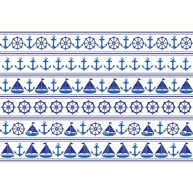 Marine seamless pattern. Premium Vector