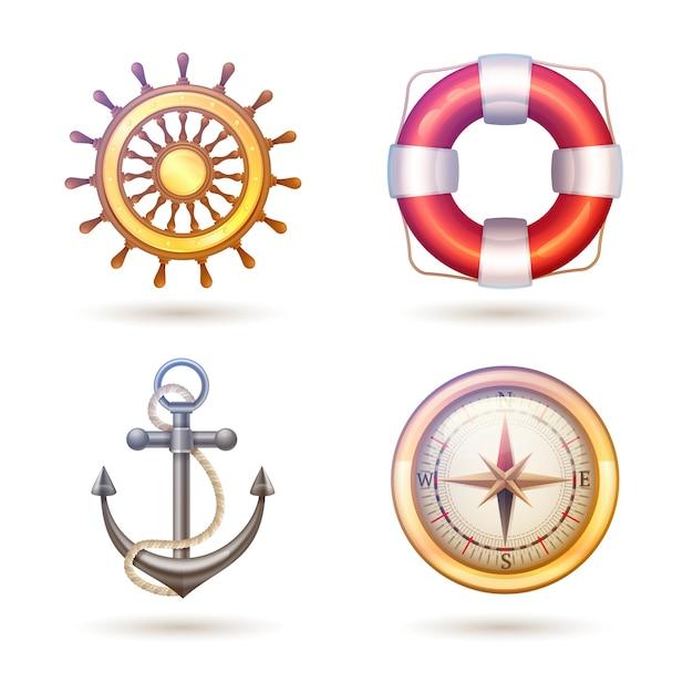 Marine symbols set Free Vector