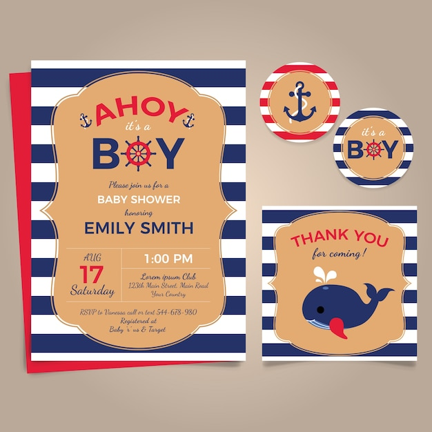 Marine theme cards for baby shower Free Vector