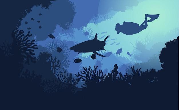 海洋水中の動植物 無料ベクター