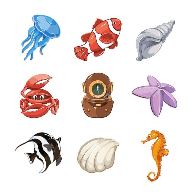 漫画のスタイルで設定された海洋ベクトルアイコン。自然生物、水中の野生生物、海または海の魚のイラスト 無料ベクター