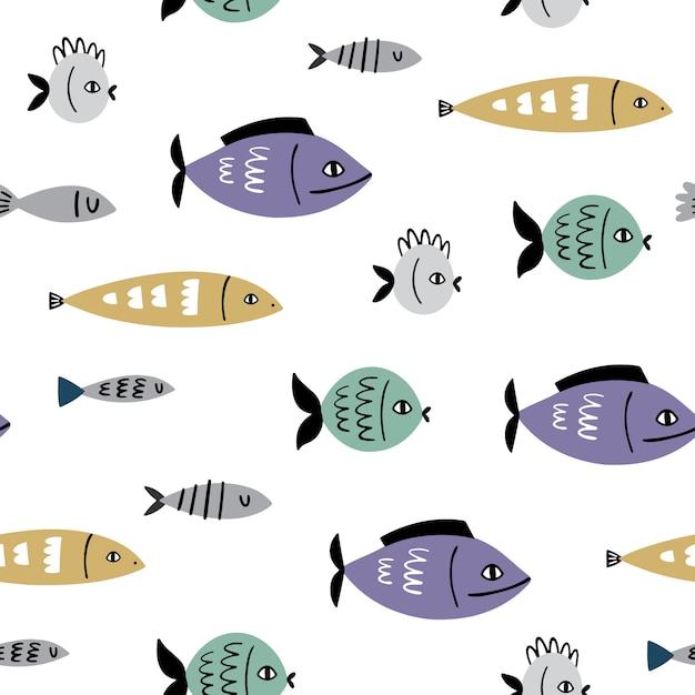 Marine vector seamless pattern with fish Premium Vector