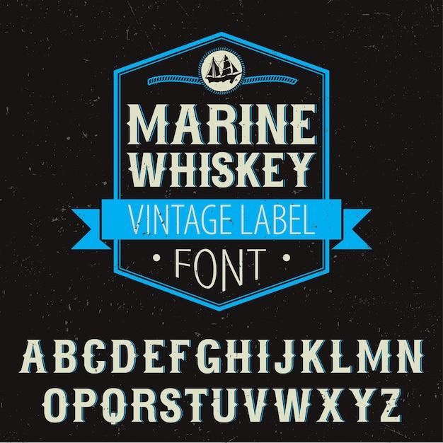 Плакат шрифта этикетки морского виски с украшением и алфавитом на черной иллюстрации Бесплатные векторы