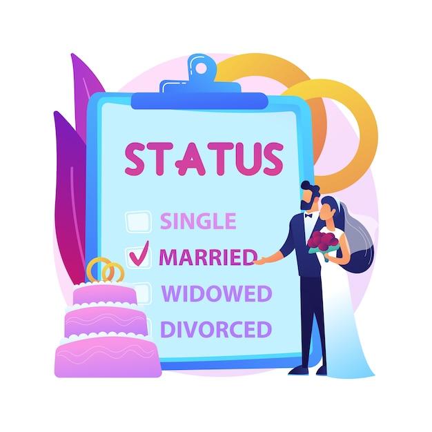 Illustrazione di concetto astratto di stato civile. stato civile, parentela personale, single sposato, casella di controllo, stato civile, fedi nuziali, coppia sposata, divorziato vedovo. Vettore gratuito