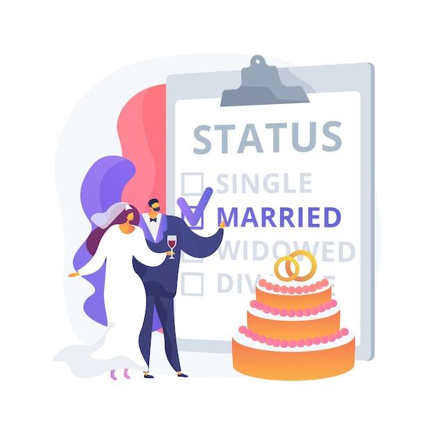Семейное положение абстрактное понятие векторные иллюстрации. гражданский статус, отношения лиц, не замужем, флажок, семейное положение, обручальные кольца, супружеская пара, разведенная овдовевшая абстрактная метафора. Бесплатные векторы
