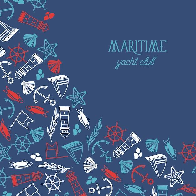 Морской красочный плакат яхт-клуба разделен на две части Бесплатные векторы