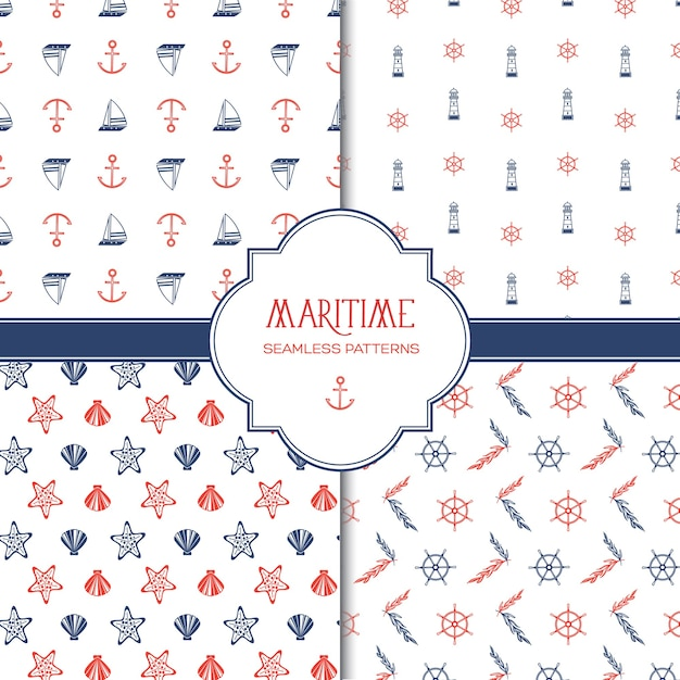 Maritime hand drawn seamless pattern with colorful marine and nautical elements Premium Vector