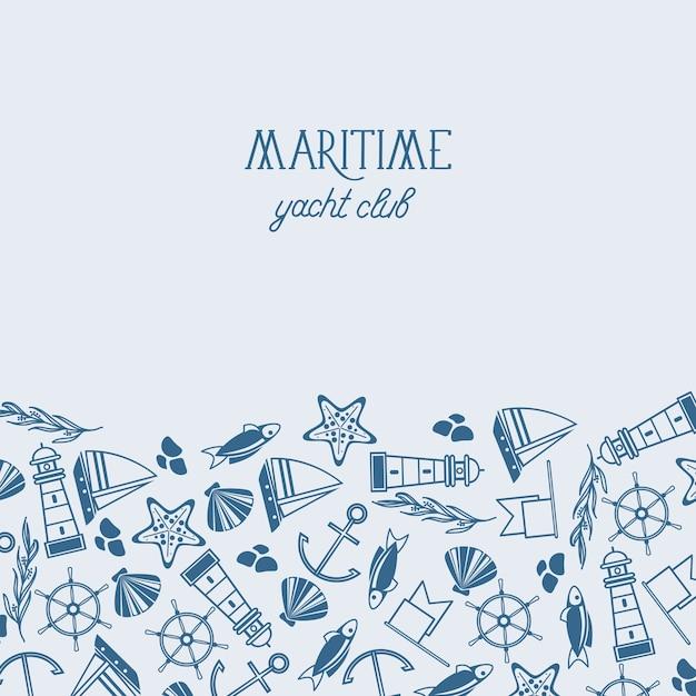 魚、船、海洋、シームレスなパターンを含むさまざまな青と白のシンボルが1枚の紙に描かれた海上ヨットクラブのポスター 無料ベクター