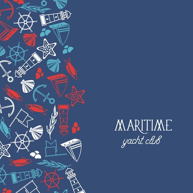 Плакат морского яхт-клуба с многочисленными символами, включая рыбу, корабль, красные звезды и флаги на синем. Бесплатные векторы