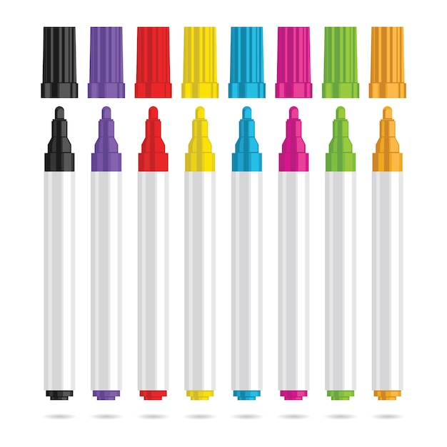 Markers pen. set of eight color markers. vector illustration. Premium Vector