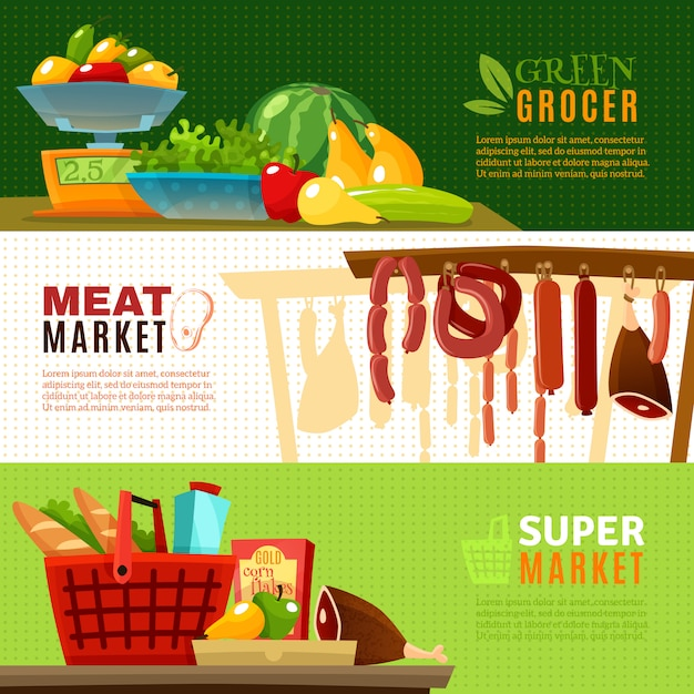 Market banners set Free Vector