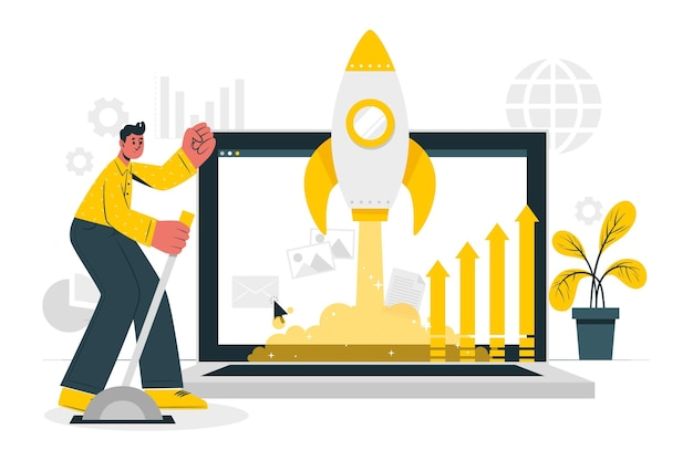 Market launch concept illustration Free Vector