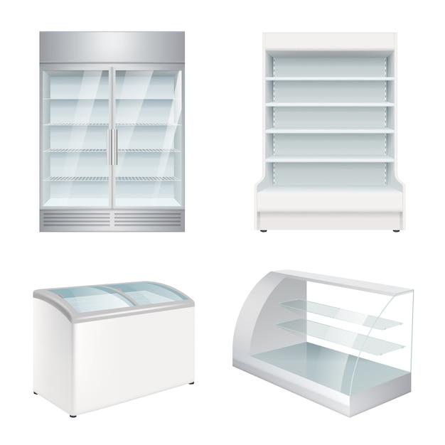 Market refrigerators. empty commercial equipment showcase for store realistic refrigerators Premium Vector