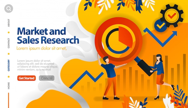 Market and sales research, target marketing and sales Premium Vector