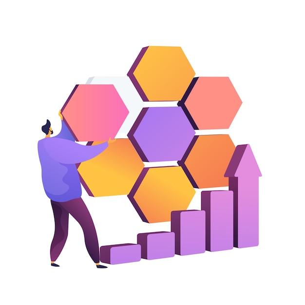 Сегментация рынка. разделение компании, бизнес-потенциал, торговая площадка. целевая аудитория, поиск потребителей. подмножество, элемент дизайна круговой диаграммы. Бесплатные векторы