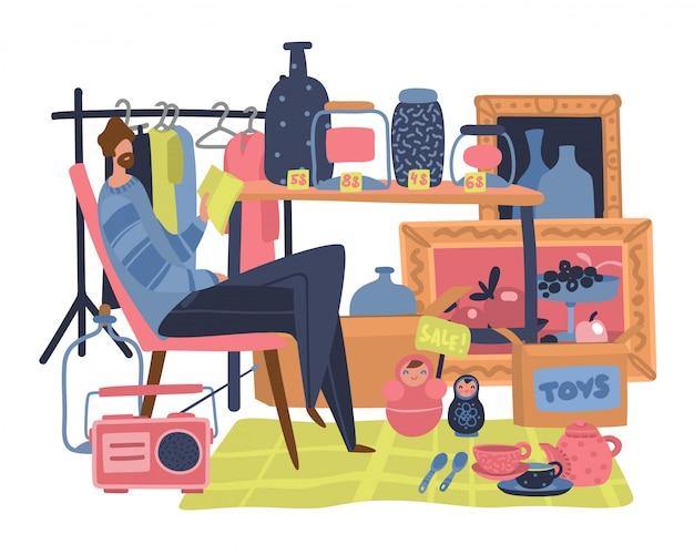 Рынок продавца. традиционный блошиный рынок с концепцией рынка подержанных игрушек и базарной одежды Premium векторы