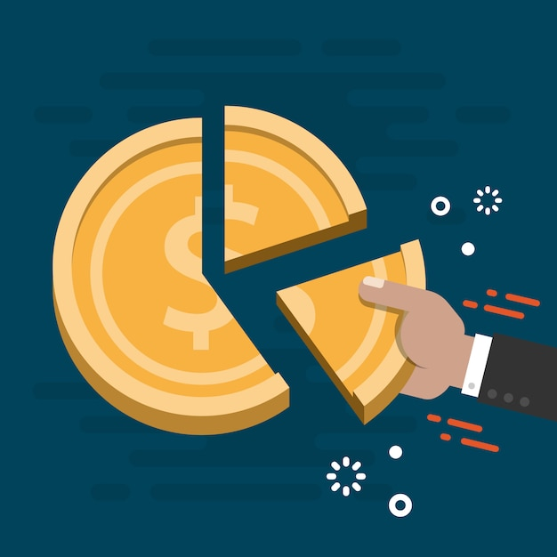 Market share business concept vector Premium Vector