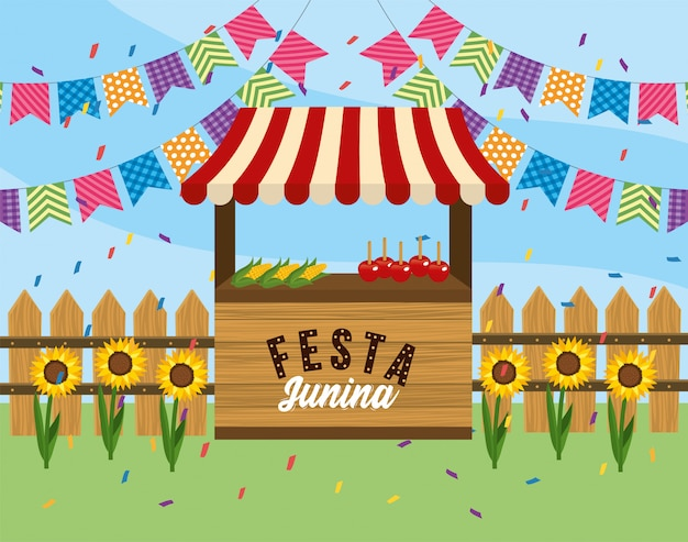 Market shop street with party banner Premium Vector
