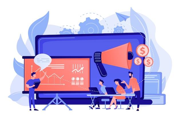 I marketer imparano da colleghi professionisti all'incontro con il consiglio di presentazione incontro di marketing, condivisione di esperienze, concetto di competenza di marketing Vettore gratuito