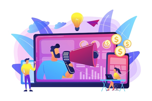 Marketer delivering ads with megaphone and devices. cross-device marketing, cross-device marketing analysis and strategy concept on white background. bright vibrant violet isolated illustration Free Vector