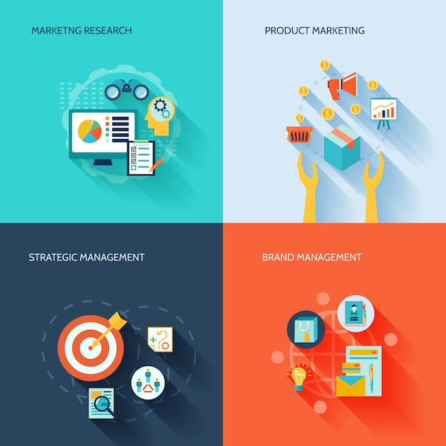 Marketer flat elements composition set with marketing research product strategic brand management isolated vector illustration Premium Vector