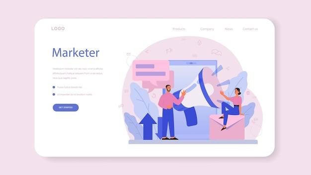 マーケティング担当者のwebバナーまたはランディングページ。広告とマーケティングの概念。事業戦略と顧客とのコミュニケーション。 Premiumベクター