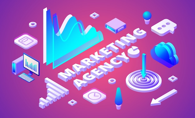 Marketing agency illustration of market research and business symbols Free Vector