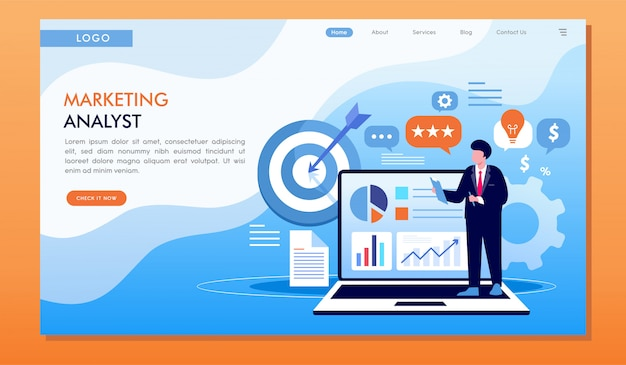 Marketing analyst strategy target and achievement website landing page Premium Vector