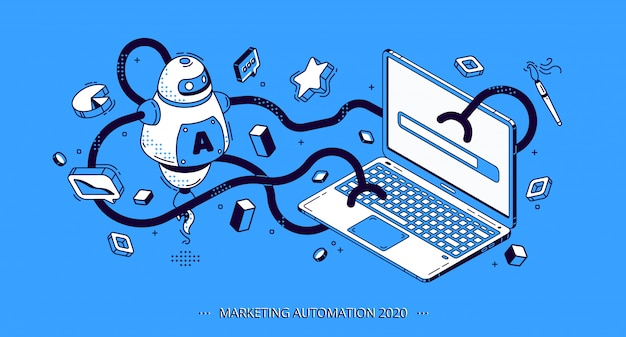 Marketing automation 2020 isometric banner, seo Free Vector