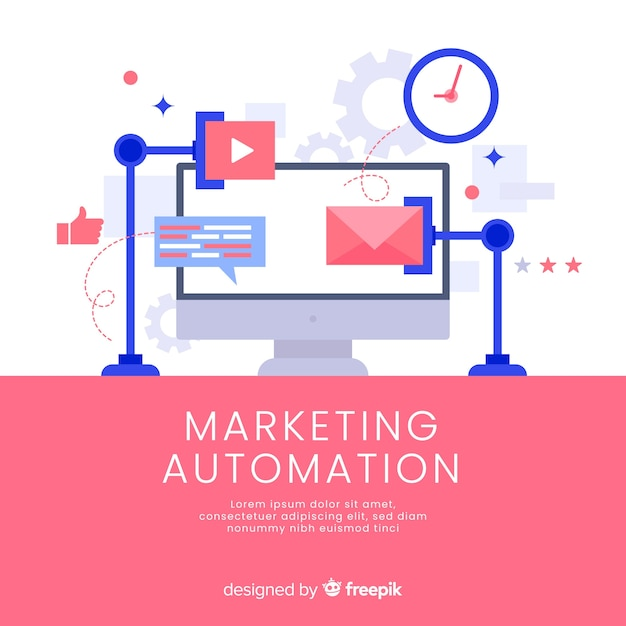 Marketing automation background template Free Vector
