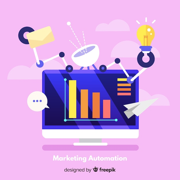 Marketing automation background Free Vector