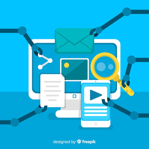 Marketing automation flat background Free Vector