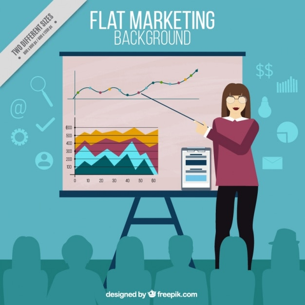 Marketing background with businesswoman showing a presentation Free Vector