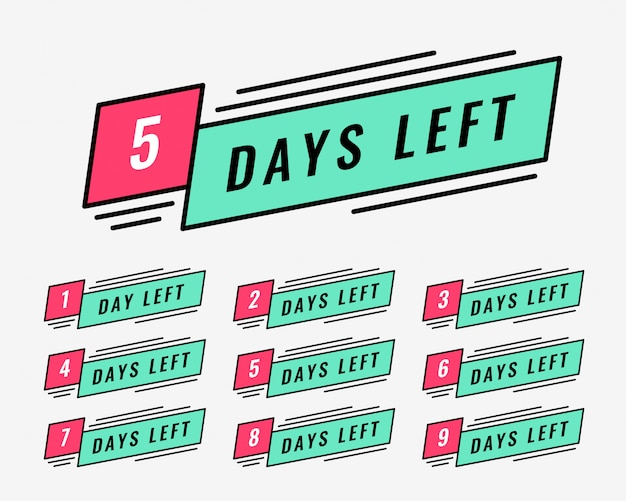 Marketing banner of number of days left Free Vector