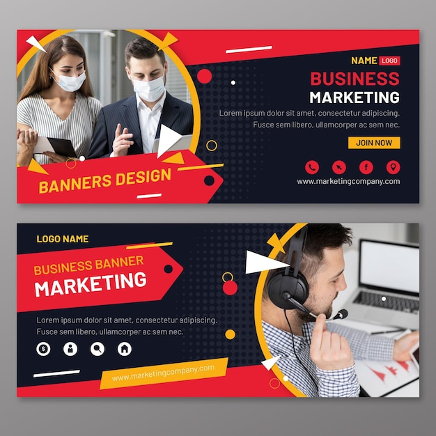 Modello di banner di marketing Vettore gratuito