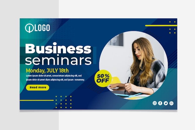Marketing business horizontal banner template Free Vector