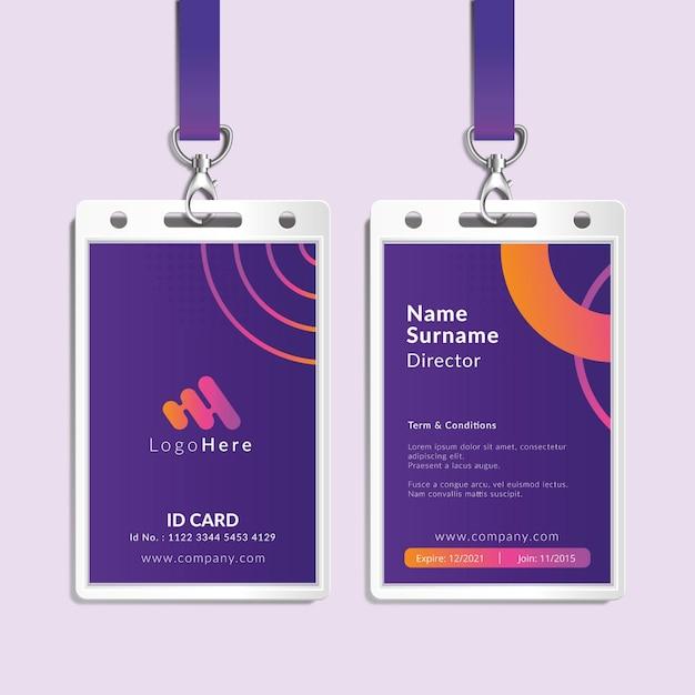 Modello di carta d'identità aziendale di marketing Vettore gratuito
