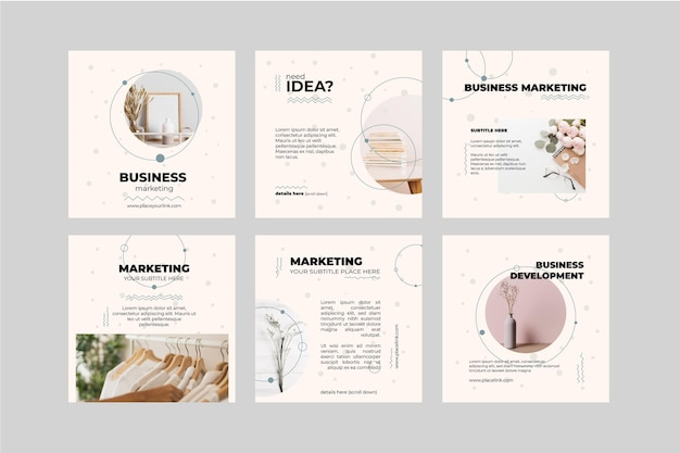 Marketing business instagram posts collection Free Vector