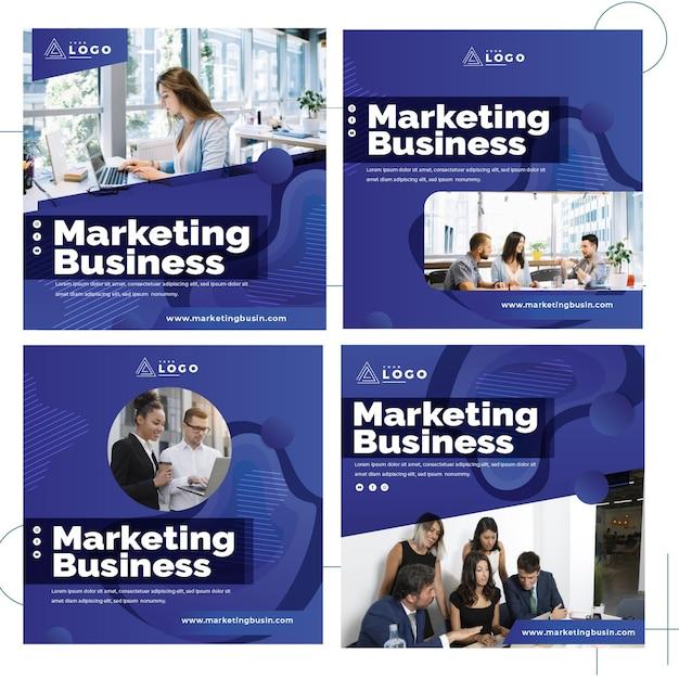 마케팅 비즈니스 인스 타 그램 게시물 모음 프리미엄 벡터